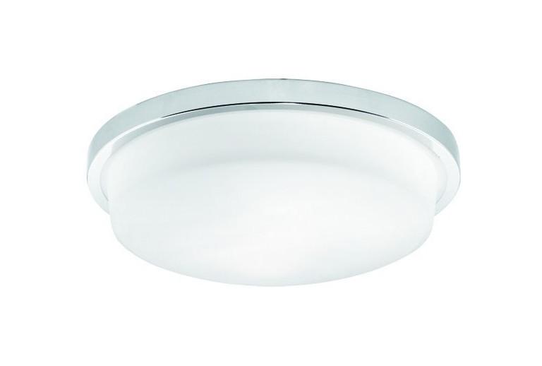 3057900 Οροφής με Γυαλί σατινάτο λευκό και με χρώμιο μεταλλικη βάση