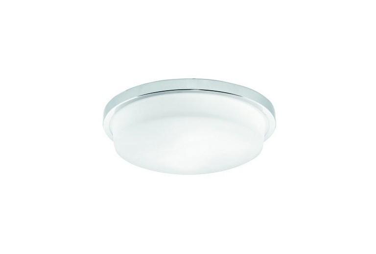 3058000 Οροφής με Γυαλί σατινάτο λευκό και  με χρώμιο μεταλλικη βάση