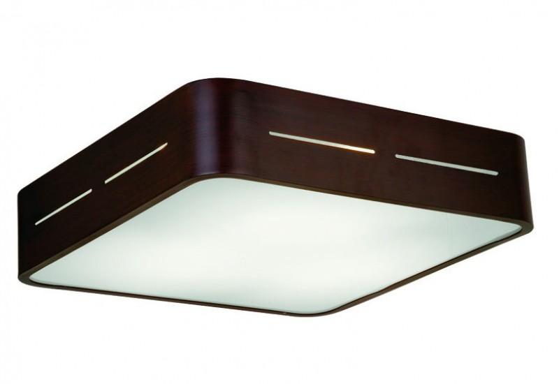 125 - 4104301 - Οροφής με Γυαλί σατινάτο λευκό και βάση σε καφέ αλουμίνιο