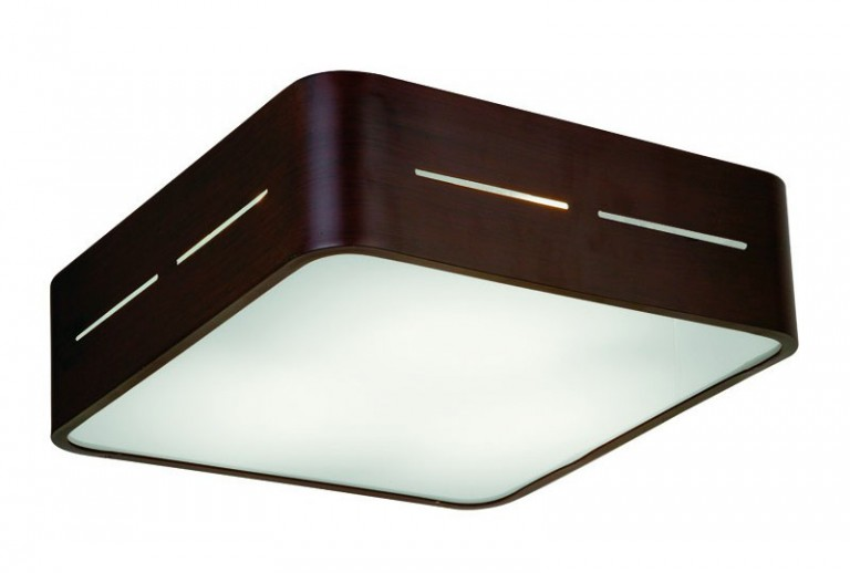 125 - 4104201 - Οροφής με Γυαλί σατινάτο λευκό και βάση σε καφέ αλουμίνιο