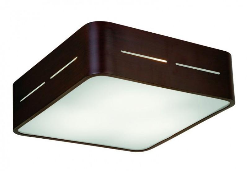 4104201 - Οροφής με Γυαλί σατινάτο λευκό και βάση σε καφέ αλουμίνιο